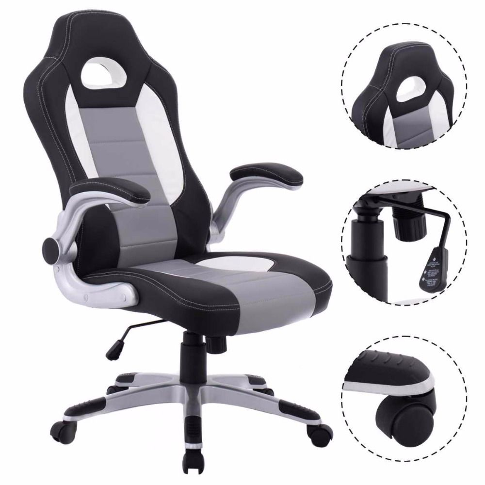 Goplus 2017 PU Leather Executive Racing Style Bucket Seat Ergonomic Computer Gaming Chair Swivel Armchair Furniture CB10070