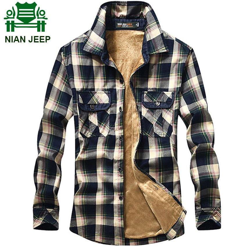 Brand Clothing Mens Winter Warm Fleece Liner Thicken Shirt Plaid Print Red and Blue Color Shirts 103