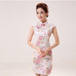 Nuevo verano Satén de seda cheongsam vestido tradicional chino vestido sin mangas de cuello alto femenino qipao unique Vestidos de Noche del partido