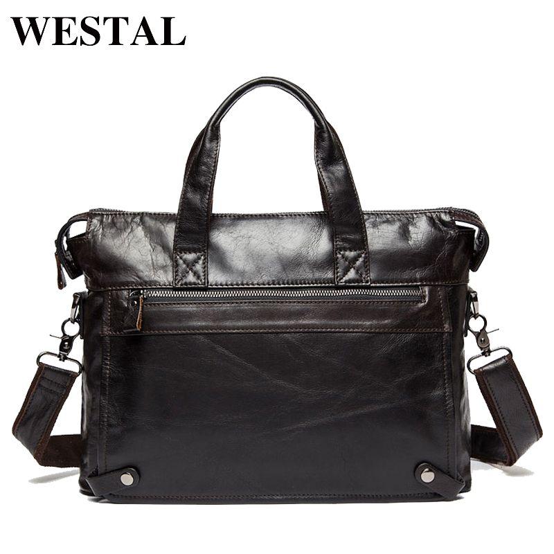 WESTAL Genuine Leather bag Business Men bags Laptop Tote Briefcases Crossbody bags Shoulder Handbag Men's Messenger Bag 9103