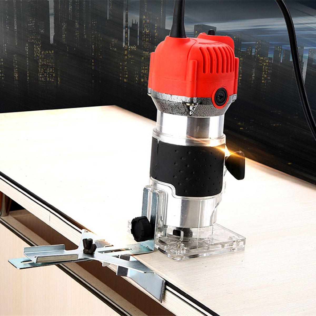 30000r/min Corded Elektrische Hand Trimmer Holz Laminator Router Pvc-h-streifen Schreiner Werkzeuge 110 V 750 W 1/4 60 HZ externe Carbon Pinsel Lift Knopf