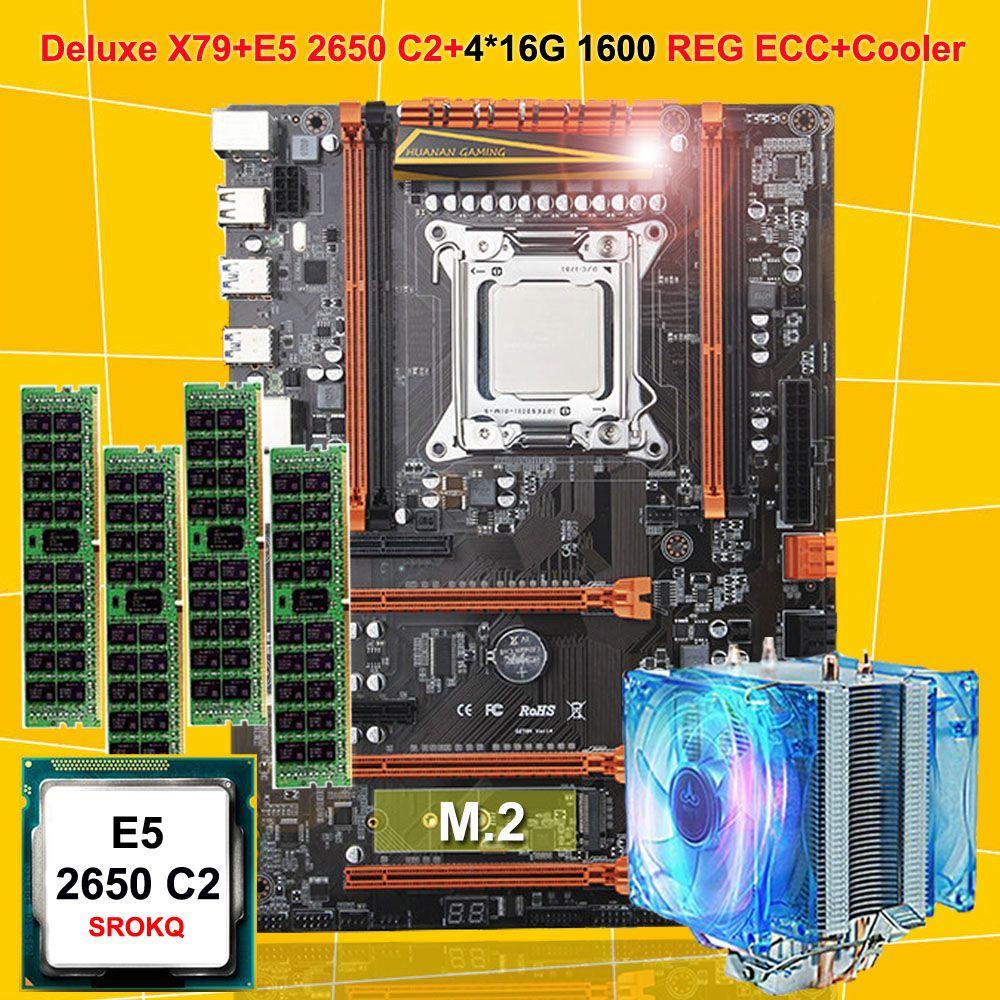 Besondere HUANAN ZHI deluxe X79 LGA2011 motherboard CPU RAM combo Xeon E5 2650 C2 mit kühler RAM 64G (4*16G) DDR3 1600 REG ECC