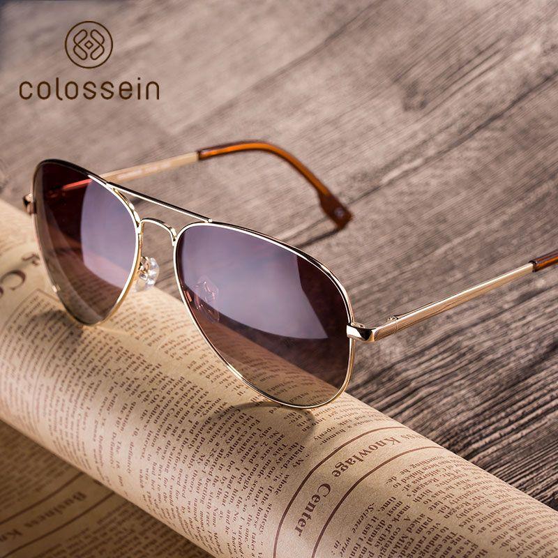 COLOSSEIN Style Pilote lunettes de Soleil Hommes Femmes Vintage Ovale Lentille Classique Brun Conduite Adulte Lunettes Mode Lunettes UV400