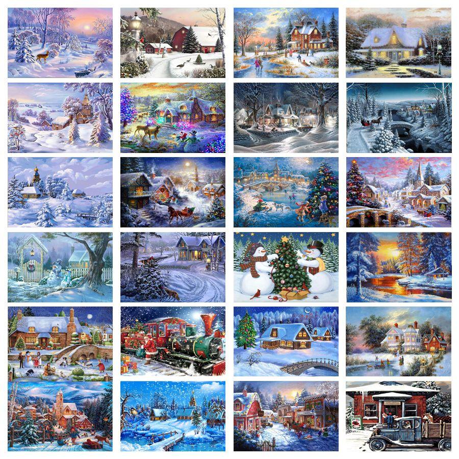 5D Full Square Diamond Painting Mosaic Handmade Winter Scenery Cross Stitch Diamond Diamond Embroidery Christmas Decor Landscape
