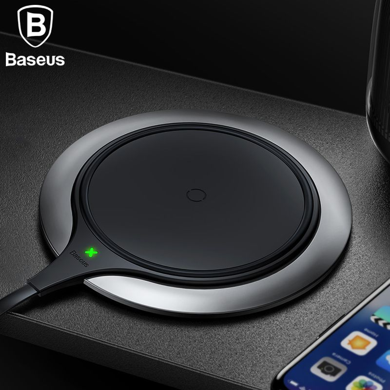 Baseus Metal Age Wireless charger 10W Qi Wireless Charger Desktop Wireless <font><b>Charging</b></font> pad for Samsung Galaxy S9 Note 9 iPhone X 8