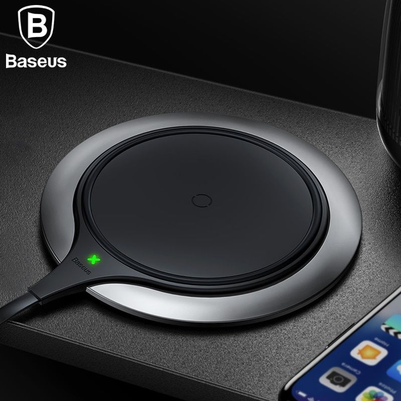 Baseus Metal Age Wireless charger 10W Qi Wireless Charger Desktop Wireless Charging pad for Samsung Galaxy S9 Note 9 iPhone X 8