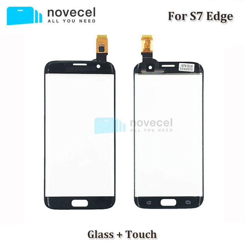 Novecel ORI G935F Front Glas objektiv + Touch Flex Aufkleber Montage Für Samsung S7 Rand Touchscreen Digitizer Panel ersatz