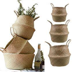 S/M/L Seagrass Vannerie Panier En Rotin Pliable Suspendus Pot De Fleur Planteur Tissé Sale Panier À Linge Panier De Rangement Décor à la maison
