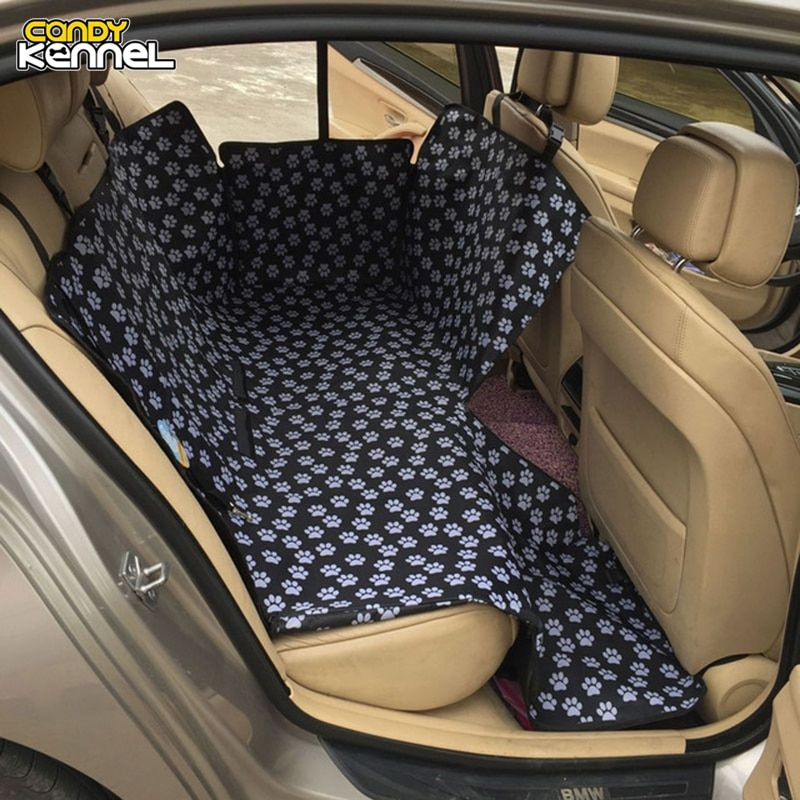 CANDY KENNEL Footprint Dog <font><b>Carriers</b></font> Waterproof Rear Back Pet Dog Car Seat Cover Mats Hammock Protector With Safety Belt D1010