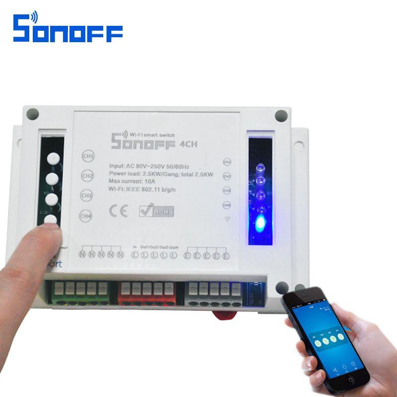 Sonoff 4CH Modules D'automatisation WIFI Smart Switch Sans Fil On/Off Télécommande Commutateurs 10A/2200 W Pour Smart la maison