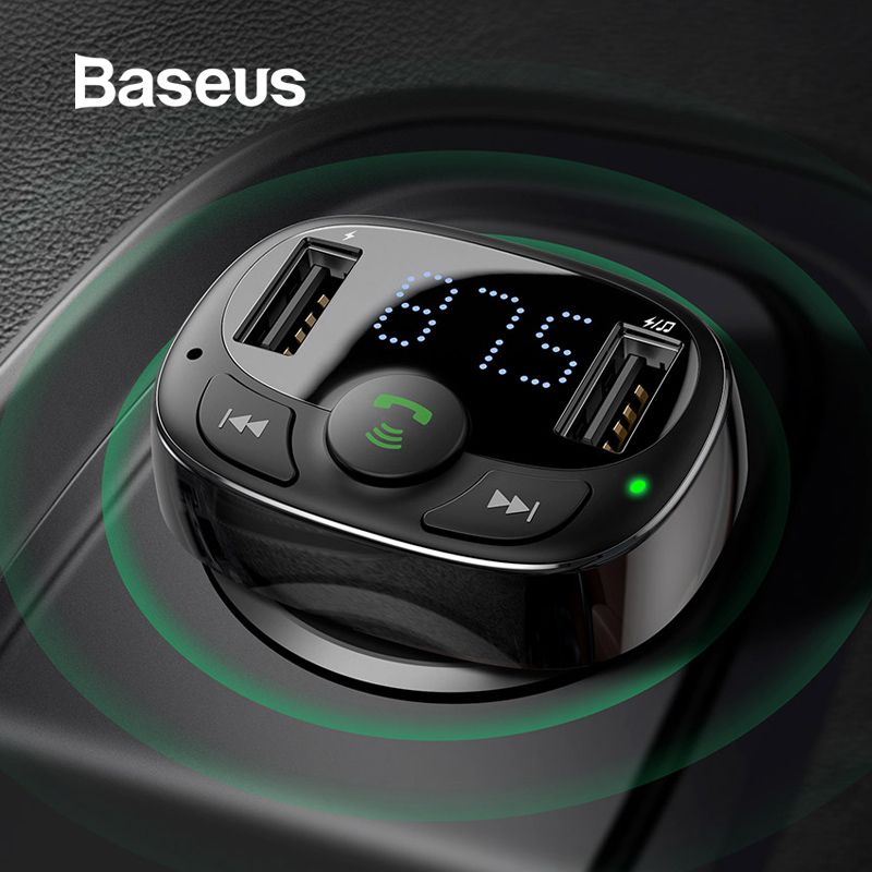 Baseus Dual USB Car Charger with FM Transmitter Bluetooth Handsfree FM Modulator Phone Charger in car For iPnone Xiaomi HUAWEI