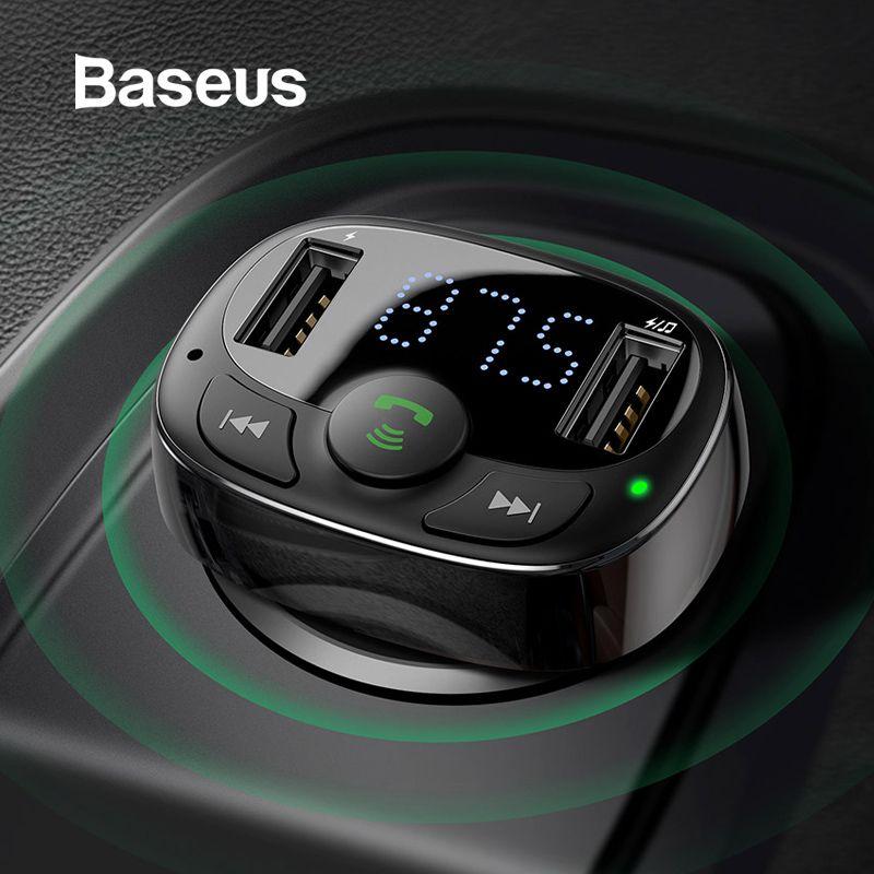 Chargeur de voiture USB double Baseus avec transmetteur FM Bluetooth mains libres modulateur FM chargeur de téléphone dans la voiture pour iPhone Xiaomi HUAWEI