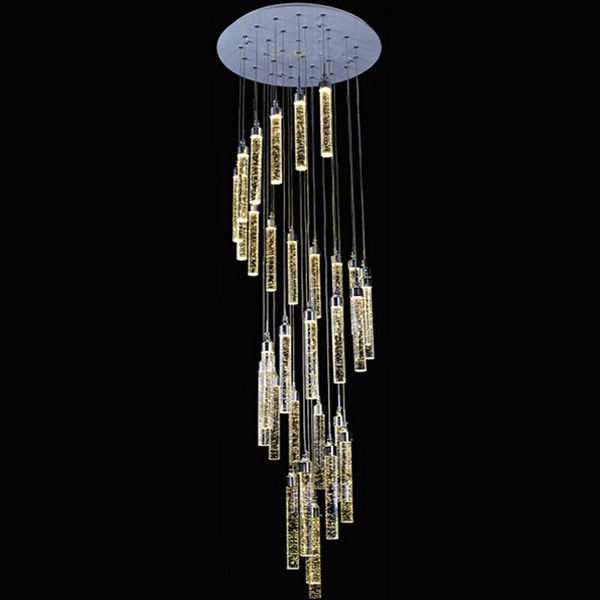 Double Staircase Large Crystal Pendant Lamp Villa Luxury LED Long Chandelier Bubble Column Crystal Living Room Spiral Lamp