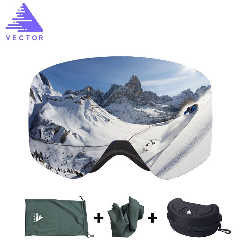 VECTOR Brand Ski Goggles With Case  Double Lens UV400 Anti-fog Ski Snow Glasses Skiing Men Women Winter Snowboard Eyewear HB108