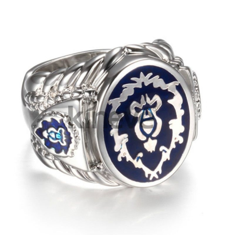 World of Warcraft alliance Ring Mens domineering personality exaggeration ring pop punk Club Titanium ring size 7-13