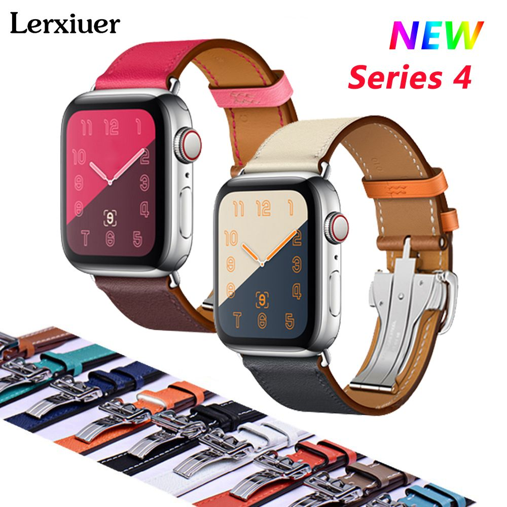 Leather Deployment Buckle strap For Apple watch 4 band 44mm/40mm Iwatch Series 3/2/1 42mm/38mm straps Single Tour wrist Bracelet