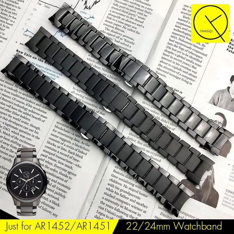 Curved End Ceramic Watchband Steel for Armani 22mm AR1452 24mm AR1451 Watch Bracelet Butterfly Buckle Strap Accessories Gear S3