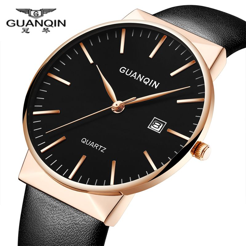 Men Ultra Thin Watches Luxury brand GUANQIN Men Classic Genuine Leather strap Waterproof men Quartz Angl Watch relogio masculino