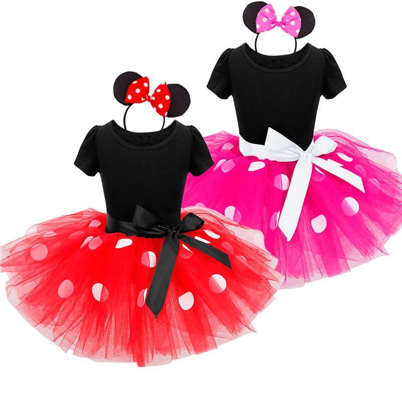 Niños Niñas Bebés Minnie Tutu Dress con Diadema Ear Fiesta de Carnaval Traje de Lujo Ballet desgaste de la Danza