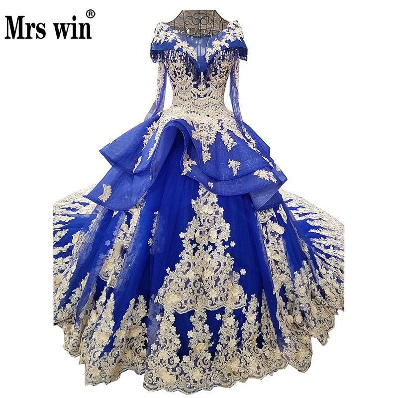 Blau Hochzeit Kleid 2018 Die Elegante Oansatz Klassische Spitze Stickerei Sweep Zug Ballkleid Lange Flügelärmeln Vintage Brautkleid F