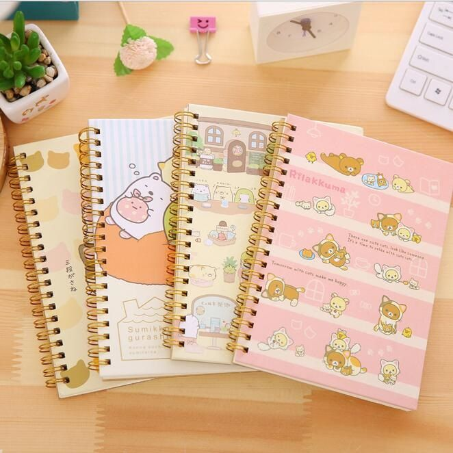 1 PCS/lot nouveau Kawaii japon dessin animé Rilakkuma & Sumikkogurashi bobine carnet journal agenda poche livre bureau fournitures scolaires