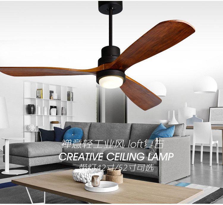 Amerikanischen Retro Decke Fan Licht Nordic Moderne Esszimmer Schlafzimmer Wohnzimmer Cafe Massivholz Fan Lampe