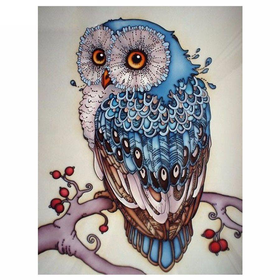 5D поделки алмазов картина сова вышивка крестом красивый синий Сова животных рукоделие дома декоративные 3D полный квадратный алмаз Вышивка