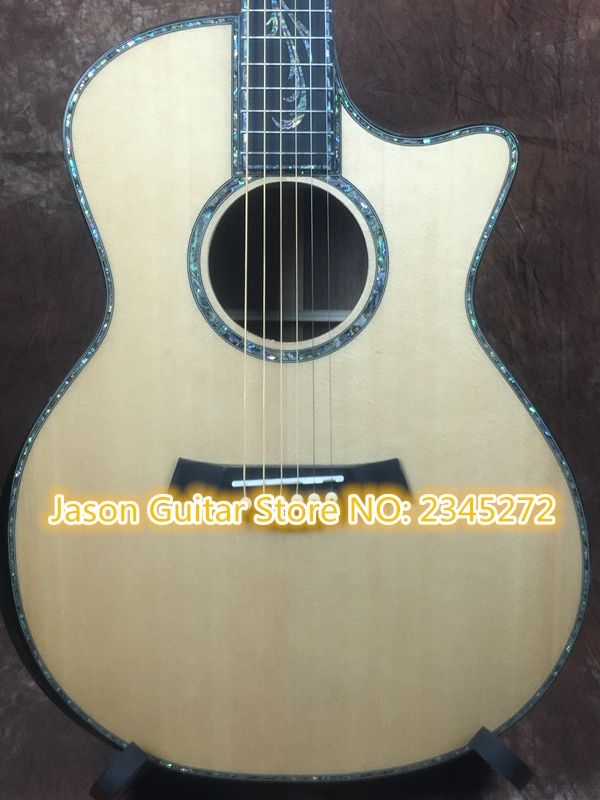 customize + Factory + body cut Chaylor acoustic guitar all real abalone solid top ps 14 electric acoustic guitar free shipping
