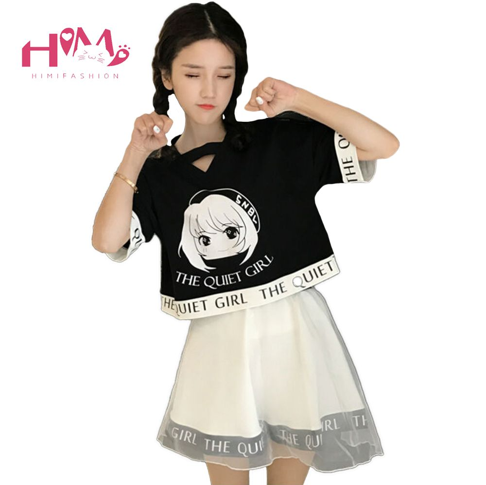 Black Naughty Two Piece Set Cute Short Cartoon Girl Print Summer Shirts Women 2017 Fashion High Waist Mini Veil Tutu Skirt Suit