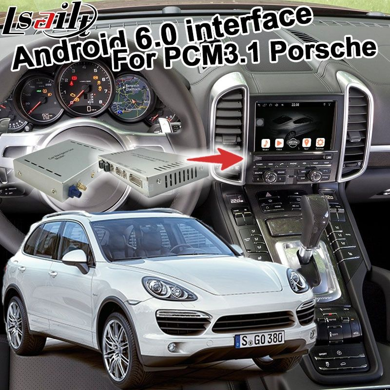 Android 6.0 GPS navigation box für Porsche Cayenne PCM 3,1 optional Carplay google spielen youtube waze google karte video interface
