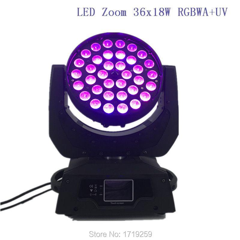 4 teile/los LED Moving Head Washlight LED Zoom Waschen 36x18 Watt RGBWA + UV Farbe DMX Bühne Moving Heads Waschen Touchscreen