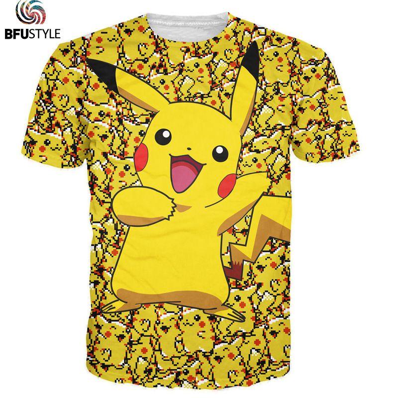 3D Pokemon Pikachu t-shirt pour hommes femmes T-shirts mode été T-shirts occasionnels hauts Anime dessin animé vêtements livraison directe