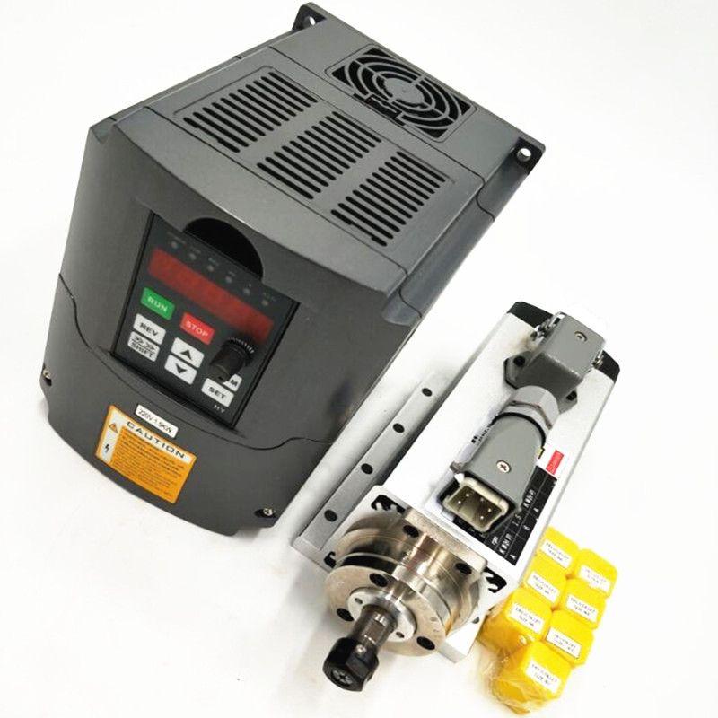 1.5kw air cooled spindle motor cnc spindle motor + 110V/220V/1.5KW inverter + 1set er11 Square milling machine spindle