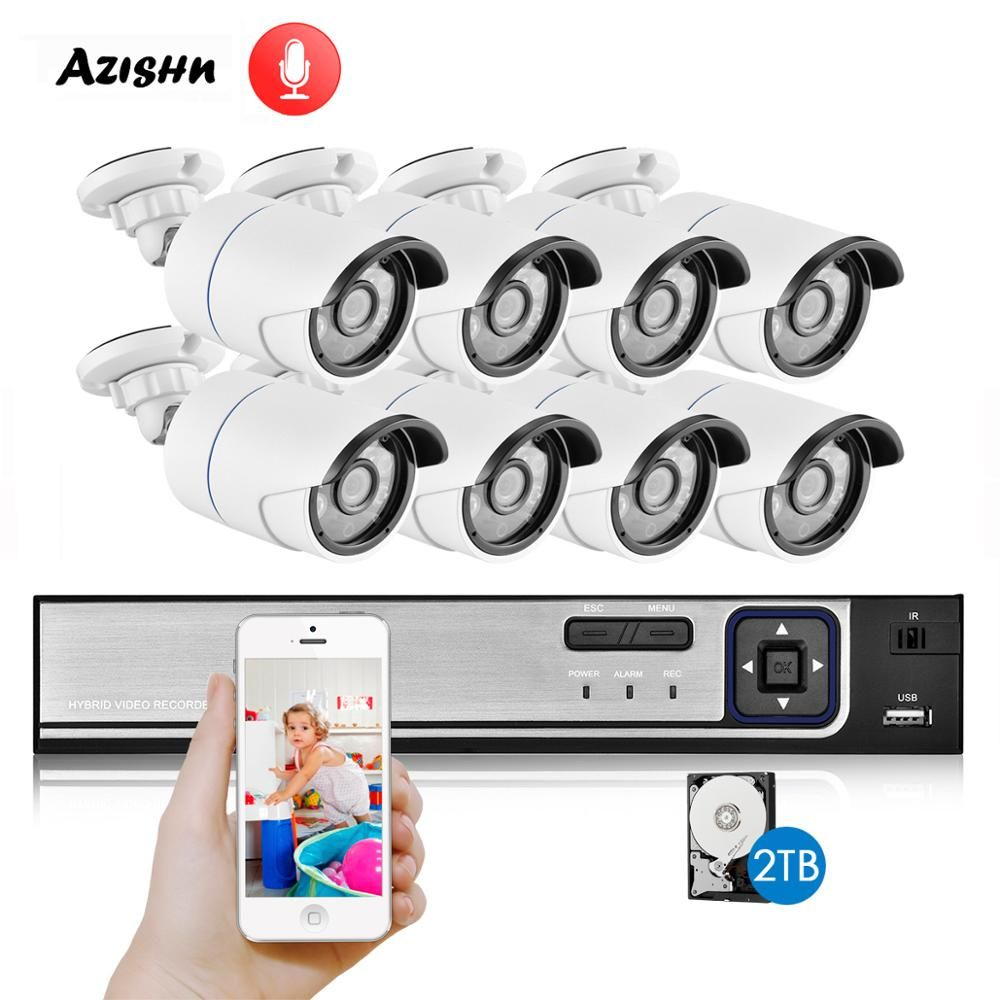 AZISHN H.265 CCTV System 8CH 4.0MP POE NVR Kit Audio Sound CCTV IP Kamera IP66 Sicherheit P2P Outdoor Video Überwachung NVR Set