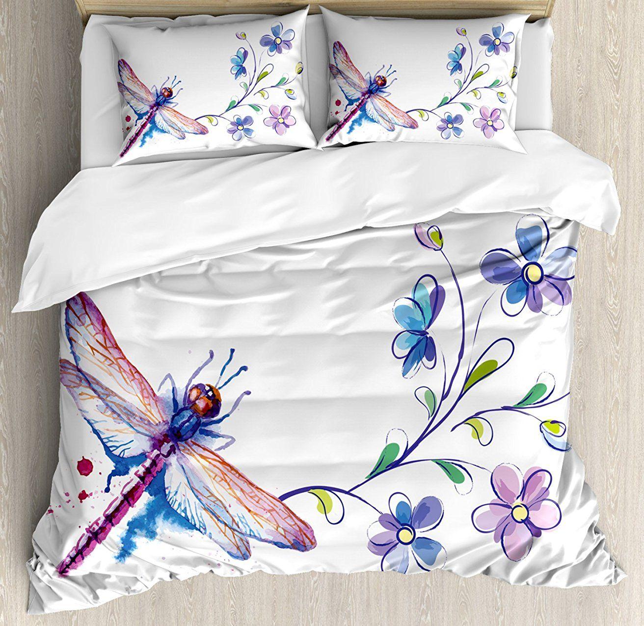 Libelle Bettbezug Set Aquarell Bug Schmetterling Wie Motte mit Zweig Ivy Blumen Lilien Kunst 4 Stück Bettwäsche Set