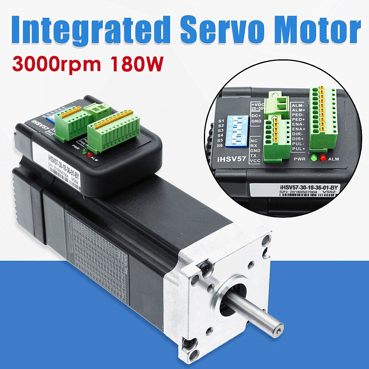 180W 3000rpm NEMA23 0.57Nm Integrated Servo Motor 36VDC JMC iHSV57-30-18-36 New Arrival