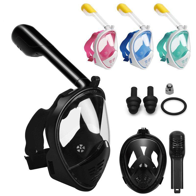 Masque de natation masque de plongée 180 vue panoramique respiration libre masque de plongée Anti-buée Anti-fuite pour adultes et enfants
