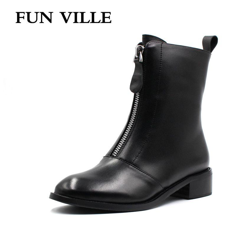 FUN VILLE 2017 Nouveau Automne hiver Femmes Cheville Bottes Véritable en cuir Hign qualité Martin bottes chaussures Plates pour femme Ronde bout