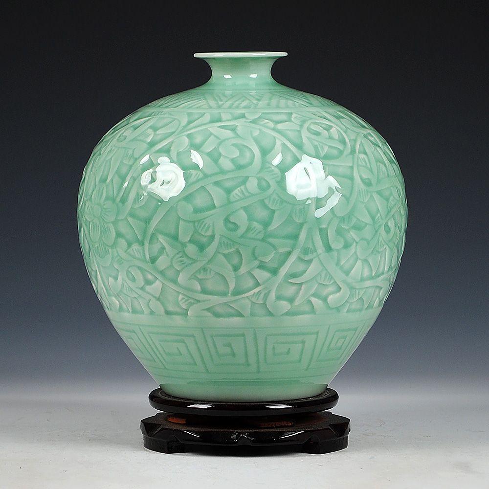 Antique Jingdezhen chinois en céramique vert gravure Jade Vase décoration de mariage blanc porcelaine Vase fleur Vase cadeau