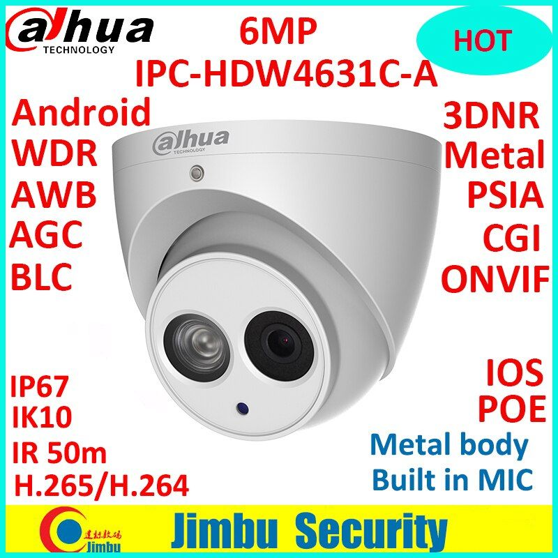 Dahua 6MP 4MP POE H.265 HOT IP Camera Built-in mic IPC-HDW4631C-A&HDW4433C-A IR security cctv Dome Camera onvif