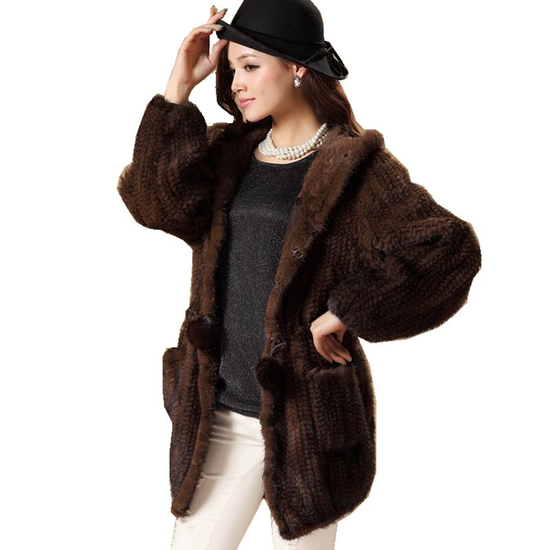 Luxury Winter Women's Genuine Real Knitted Mink Fur Coat with Hoody Lady Warm Outerwear Overcoat VF0498