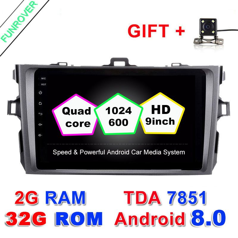 2 Din Android 8.0 car dvd autoradio gps navigation 8inch Steering wheel controls For Toyota corolla 2007~2011 in dash navi RDS