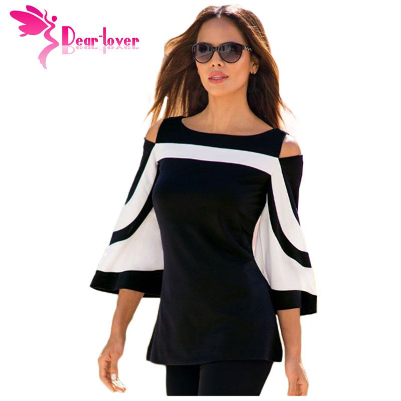 DearLover Women Blouse Black White Colorblock Bell Sleeve Cold Shoulder Top <font><b>Mujer</b></font> Camisa Feminina Office Ladies Clothes LC250605