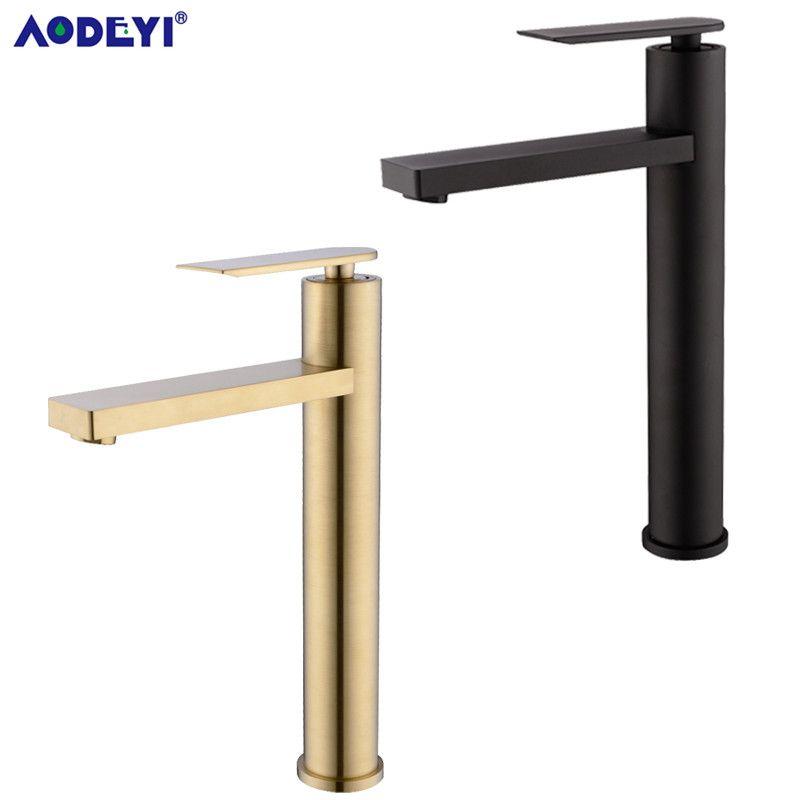 Salle de bains bassin robinet évier mitigeur robinet en laiton massif robinet d'eau cascade bassin mitigeur robinet Chrome & noir & or brossé