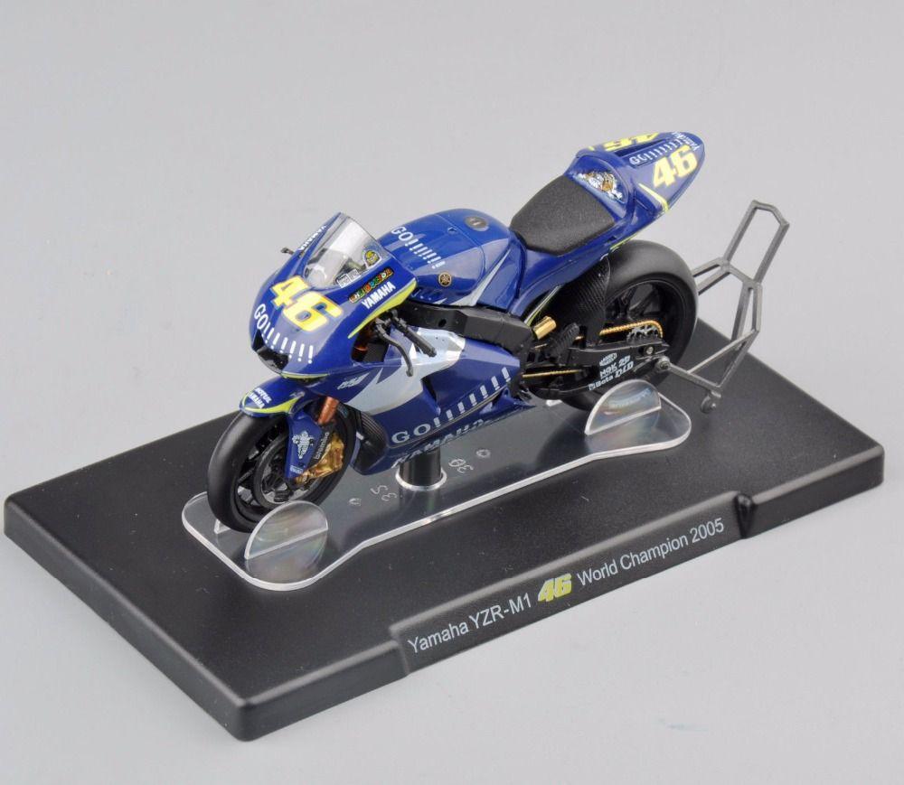 1/18 Básculas motocicleta modelo Valentino Rossi Yamaha YZR-M1 n° 46 Campeón del Mundo 2005 racing bike colecciones Juguetes