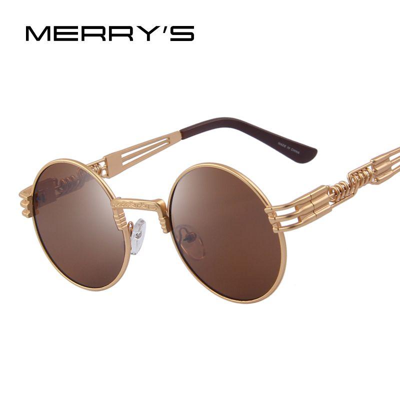 MERRY'S Femmes Steampunk lunettes de Soleil Hommes Rétro lunettes de Soleil Rondes En Métal lunettes de Soleil Hommes Oculos De Sol UV400