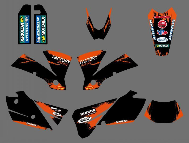 new style  0429  Black  TEAM GRAPHICS & BACKGROUNDS DECALS FOR KTM EXC 125/200/250/300/400/450/525 2004