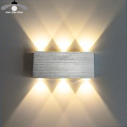 JJD Led Wall Lamp Modern Sconce Stair Light Fixture Living Room Bedroom Bed Bedside Indoor Lighting Home Hallway Loft Silver
