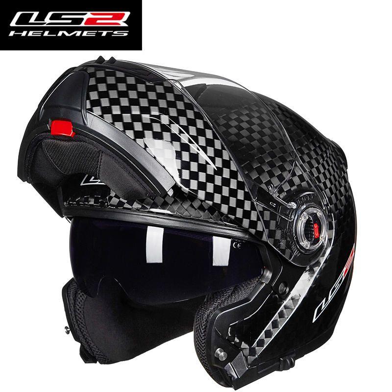 Original LS2 FF394 flip up motorrad helm 12 K carbon fiber erwachsene modulare volles gesicht helm mit inneren sonnenbrille helme