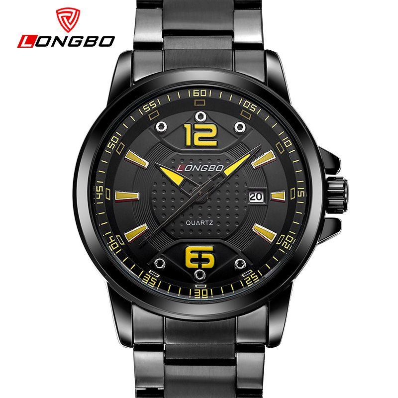 Diseño de línea única de negocios LONGBO reloj de lujo de los hombres reloj de cuarzo de acero inoxidable a prueba de agua vestido reloj hombre regalo 80212
